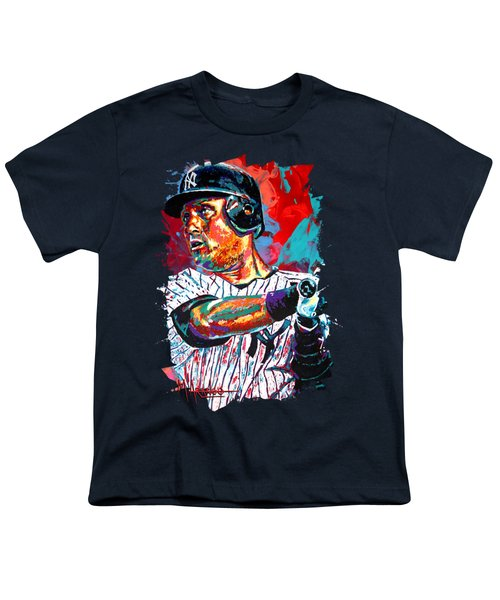 Jeter At Bat Youth T-Shirt by Maria Arango