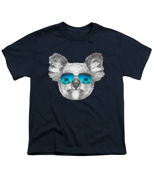 Koala With Mirror Sunglasses Youth T-Shirt by Marco Sousa