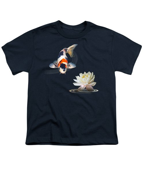 Koi Carp Abstract With Water Lily Square Youth T-Shirt