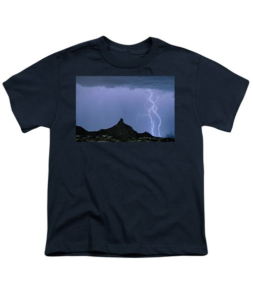 Youth T-Shirt featuring the photograph Lightning Bolts And Pinnacle Peak North Scottsdale Arizona by James BO Insogna