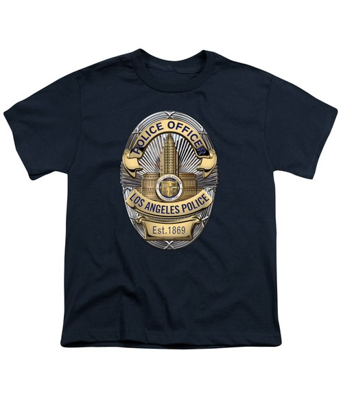 Los Angeles Police Department  -  L A P D  Police Officer Badge Over Blue Velvet Youth T-Shirt