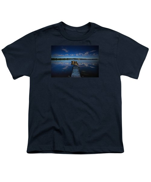 Midnight At Shady Shore On Moose Lake Minnesota Youth T-Shirt by Alex Blondeau