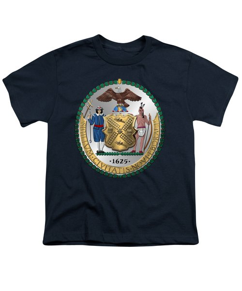 New York City Coat Of Arms - City Of New York Seal Over Blue Velvet Youth T-Shirt by Serge Averbukh