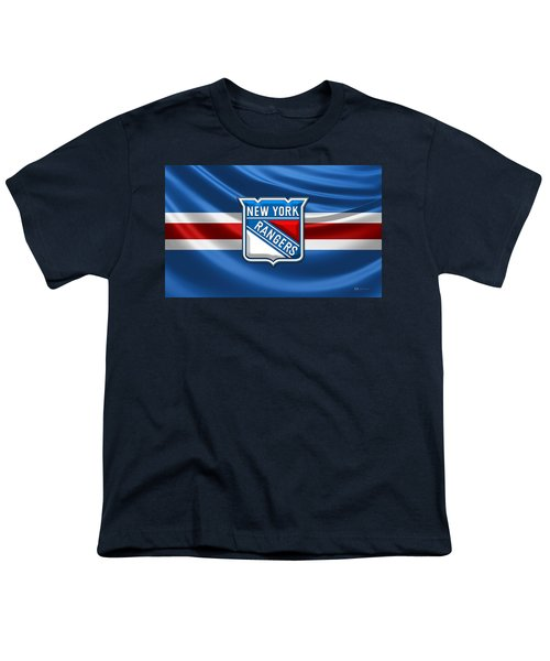 New York Rangers - 3d Badge Over Flag Youth T-Shirt by Serge Averbukh