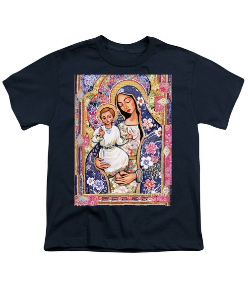 Youth T-Shirt featuring the painting Panagia Eleousa by Eva Campbell