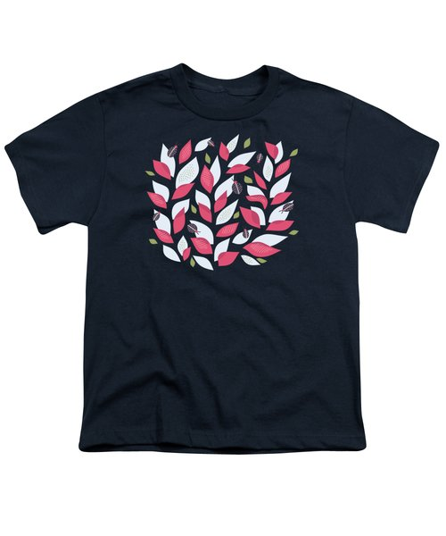 Pretty Plant With White Pink Leaves And Ladybugs Youth T-Shirt