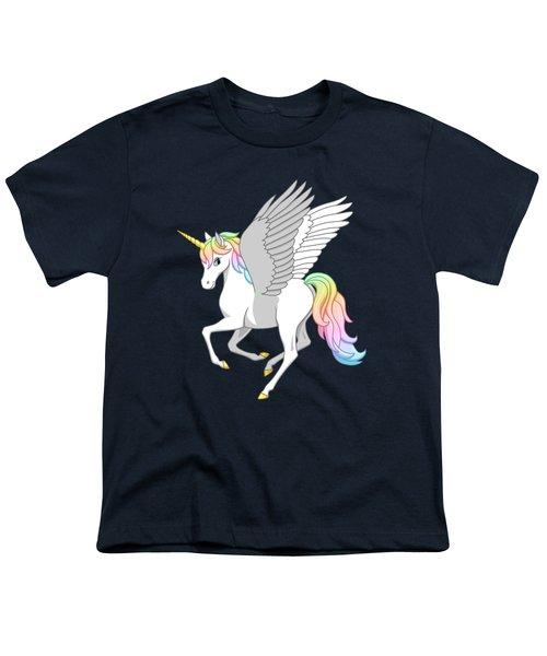 Pretty Rainbow Unicorn Flying Horse Youth T-Shirt