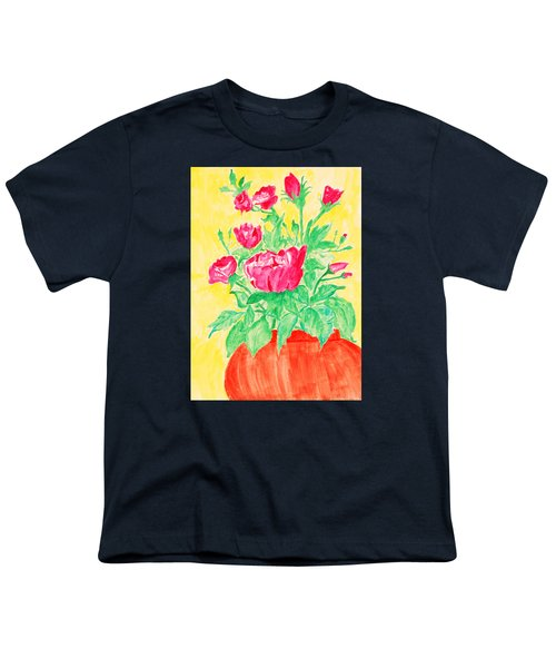 Red Flowers In A Brown Vase Youth T-Shirt