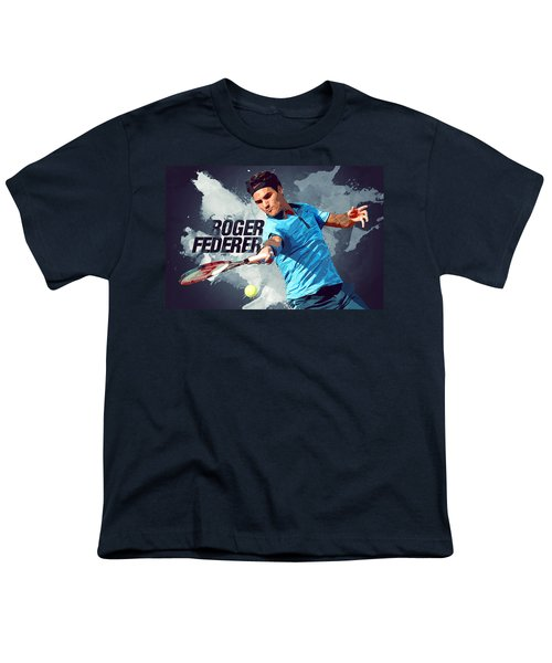 Roger Federer Youth T-Shirt by Semih Yurdabak