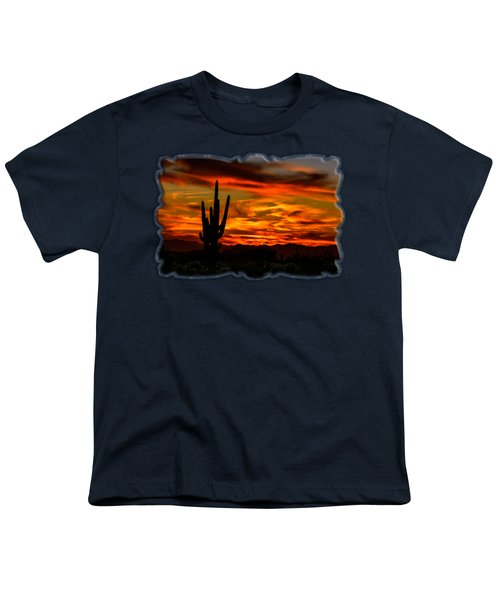 Saguaro Sunset H51 Youth T-Shirt by Mark Myhaver