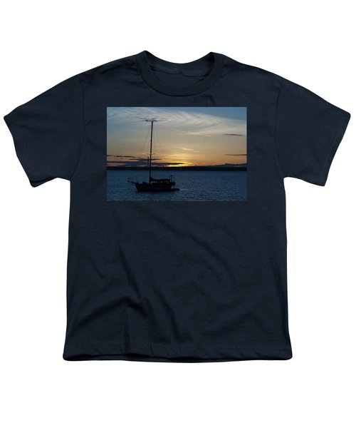 Sail Boat At Sunset Youth T-Shirt