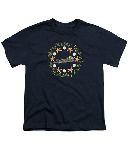 Sea Otter Mandala Youth T-Shirt by Cindy Skidgel
