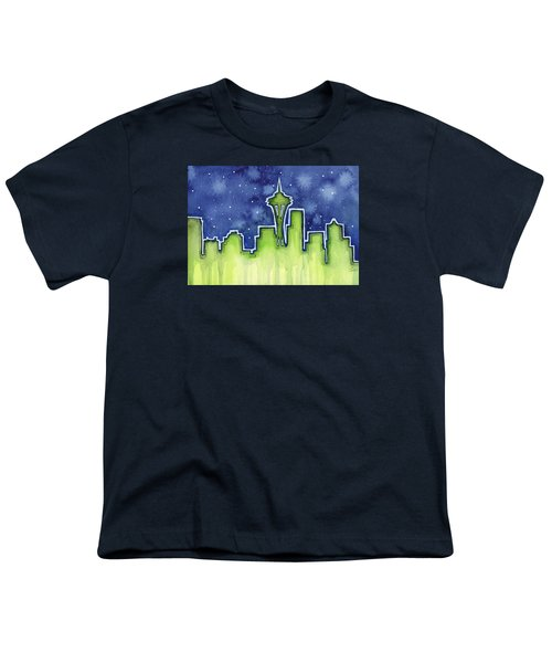 Seattle Night Sky Watercolor Youth T-Shirt by Olga Shvartsur
