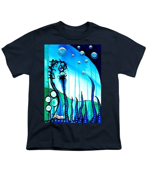 Youth T-Shirt featuring the painting Seaweed - Art By Dora Hathazi Mendes by Dora Hathazi Mendes