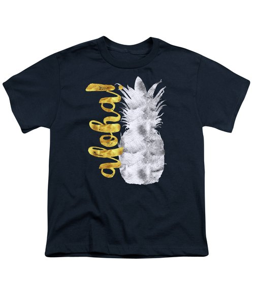 Silver And Gold Aloha Pineapple Tropical Fruit Of Hawaii Youth T-Shirt by Tina Lavoie