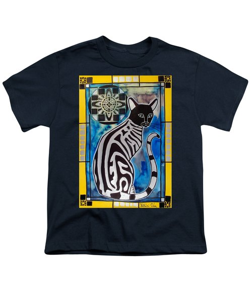 Youth T-Shirt featuring the painting Silver Tabby With Mandala - Cat Art By Dora Hathazi Mendes by Dora Hathazi Mendes