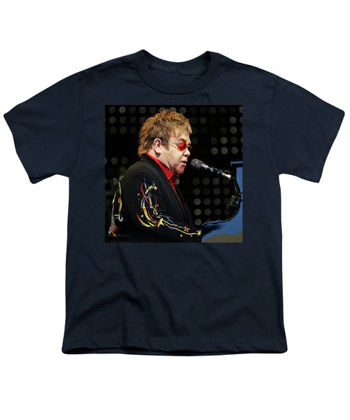 Sir Elton John At The Piano Youth T-Shirt by Elaine Plesser