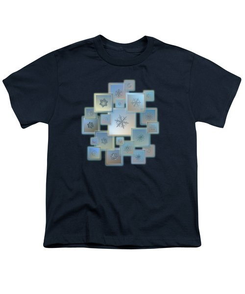 Youth T-Shirt featuring the photograph Snowflake Collage - Bright Crystals 2012-2014 by Alexey Kljatov