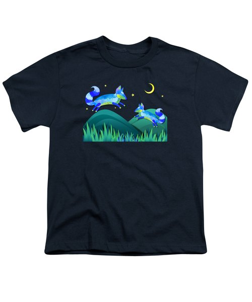 Starlit Foxes Youth T-Shirt by Little Bunny Sunshine