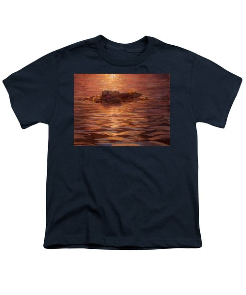 Sunset Snuggle - Sea Otters Floating With Kelp At Dusk Youth T-Shirt