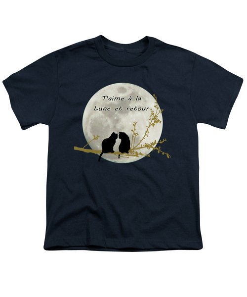 Youth T-Shirt featuring the digital art T'aime A La Lune Et Retour by Linda Lees