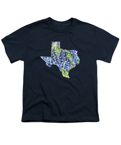 Texas Blue Texas Map On White Youth T-Shirt by Hailey E Herrera
