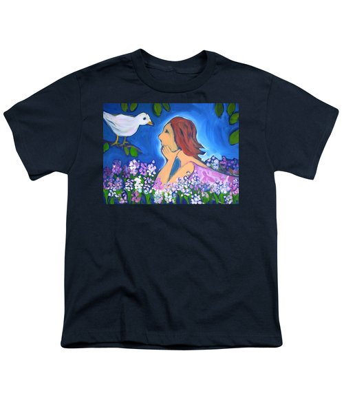 Youth T-Shirt featuring the painting The Bird by Winsome Gunning