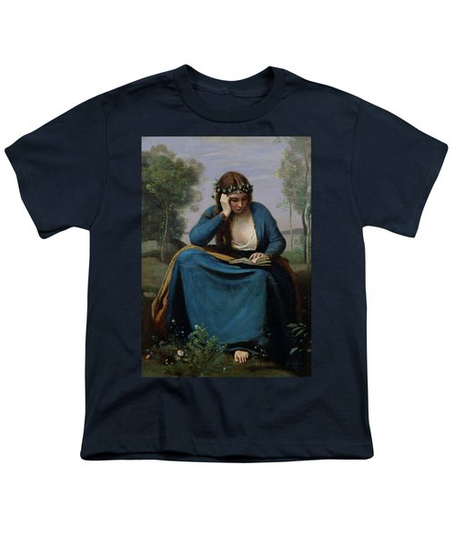 The Reader Crowned With Flowers Youth T-Shirt by Jean Baptiste Camille Corot