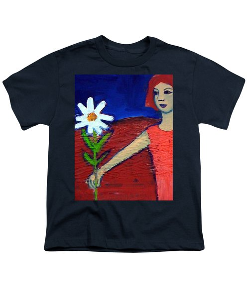 Youth T-Shirt featuring the painting The White Flower by Winsome Gunning