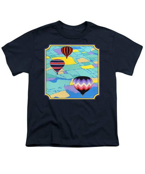 Three Hot Air Balloons Arial Absract Landscape - Square Format Youth T-Shirt