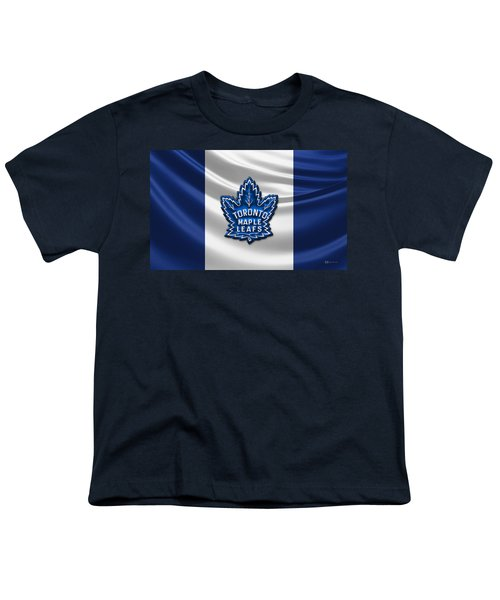 Toronto Maple Leafs - 3d Badge Over Flag Youth T-Shirt