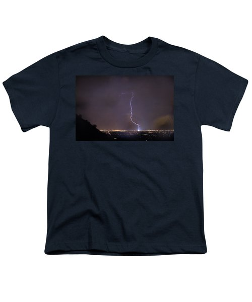 Youth T-Shirt featuring the photograph It's A Hit Transformer Lightning Strike by James BO Insogna