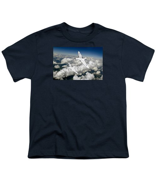 Youth T-Shirt featuring the photograph Two Avro Vulcan B1 Nuclear Bombers by Gary Eason