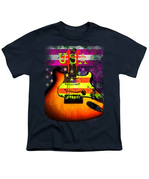 Youth T-Shirt featuring the photograph Usa Strat Guitar Music by Guitar Wacky