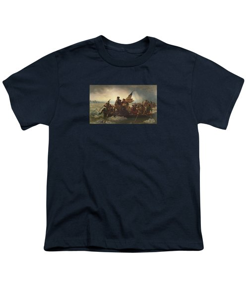 Washington Crossing The Delaware Painting  Youth T-Shirt by Emanuel Gottlieb Leutze