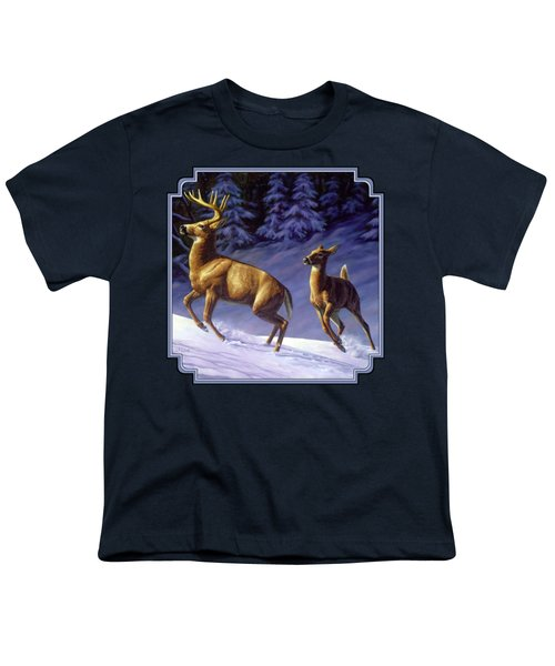 Whitetail Deer Painting - Startled Youth T-Shirt by Crista Forest