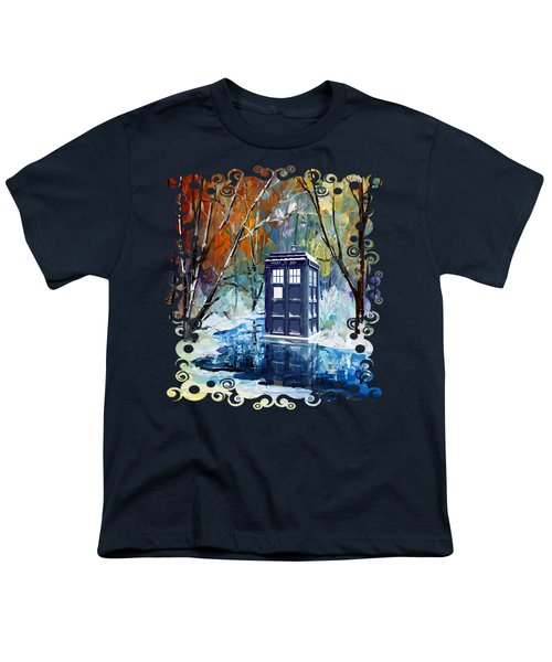 Winter Blue Phone Box Youth T-Shirt