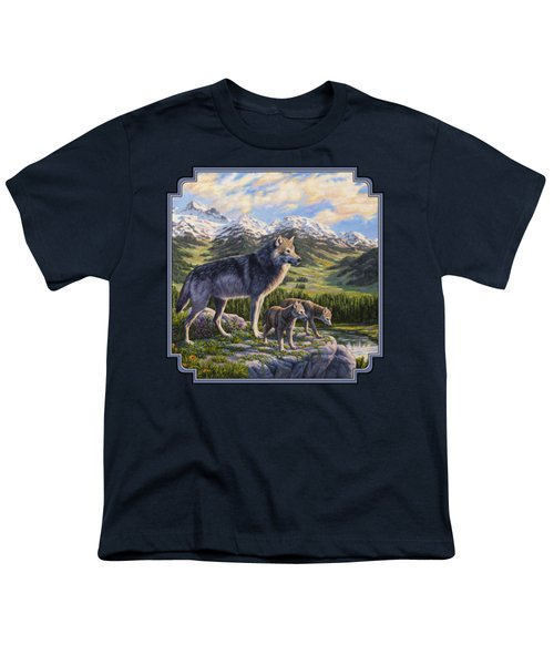 Wolf Painting - Passing It On Youth T-Shirt by Crista Forest