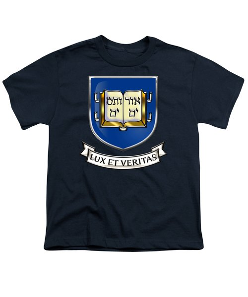 Yale University Seal - Coat Of Arms Over Colours Youth T-Shirt by Serge Averbukh