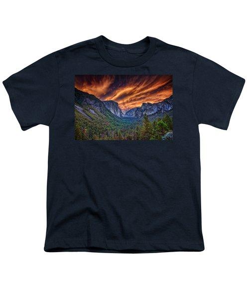 Yosemite Fire Youth T-Shirt by Rick Berk