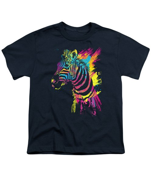 Zebra Splatters Youth T-Shirt by Olga Shvartsur