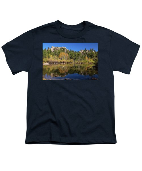 Youth T-Shirt featuring the photograph Cool Calm Rocky Mountains Autumn Reflections by James BO Insogna