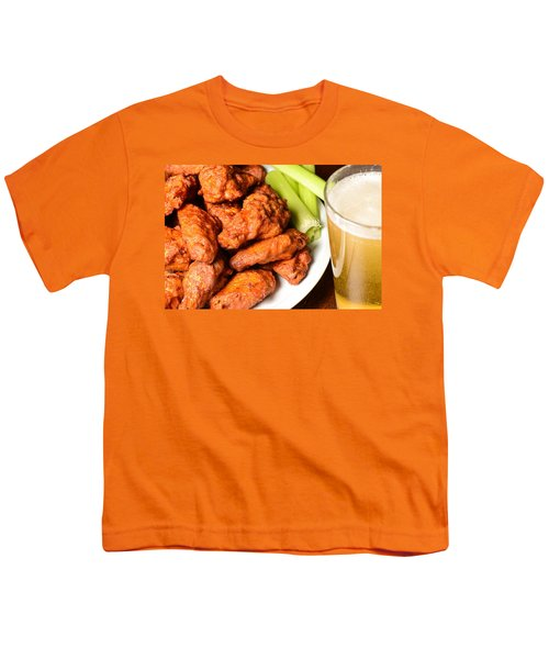 Buffalo Wings With Celery Sticks And Beer Youth T-Shirt