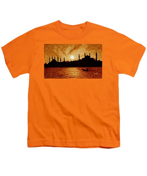 Youth T-Shirt featuring the painting Sunset Over Istanbul Original Coffee Painting by Georgeta  Blanaru
