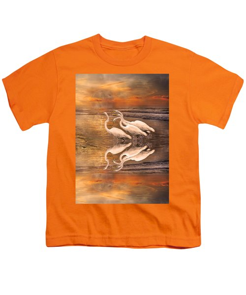 Dreaming Of Egrets By The Sea Reflection Youth T-Shirt by Betsy Knapp