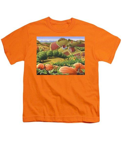 Farm Landscape - Autumn Rural Country Pumpkins Folk Art - Appalachian Americana - Fall Pumpkin Patch Youth T-Shirt