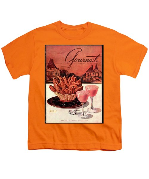 Gourmet Cover Featuring A Basket Of Potato Curls Youth T-Shirt by Henry Stahlhut