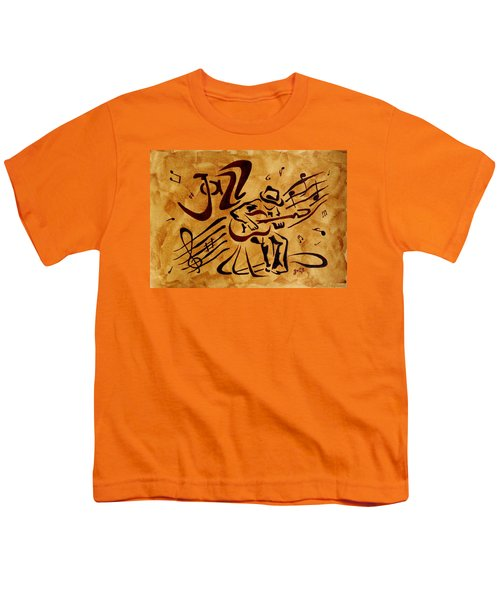 Youth T-Shirt featuring the painting Jazz Abstract Coffee Painting by Georgeta  Blanaru