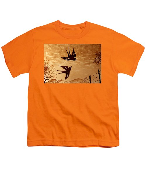 Youth T-Shirt featuring the painting Playful Swallows Original Coffee Painting by Georgeta  Blanaru