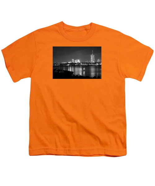 Tulsa In Black And White - University Tower View Youth T-Shirt by Gregory Ballos